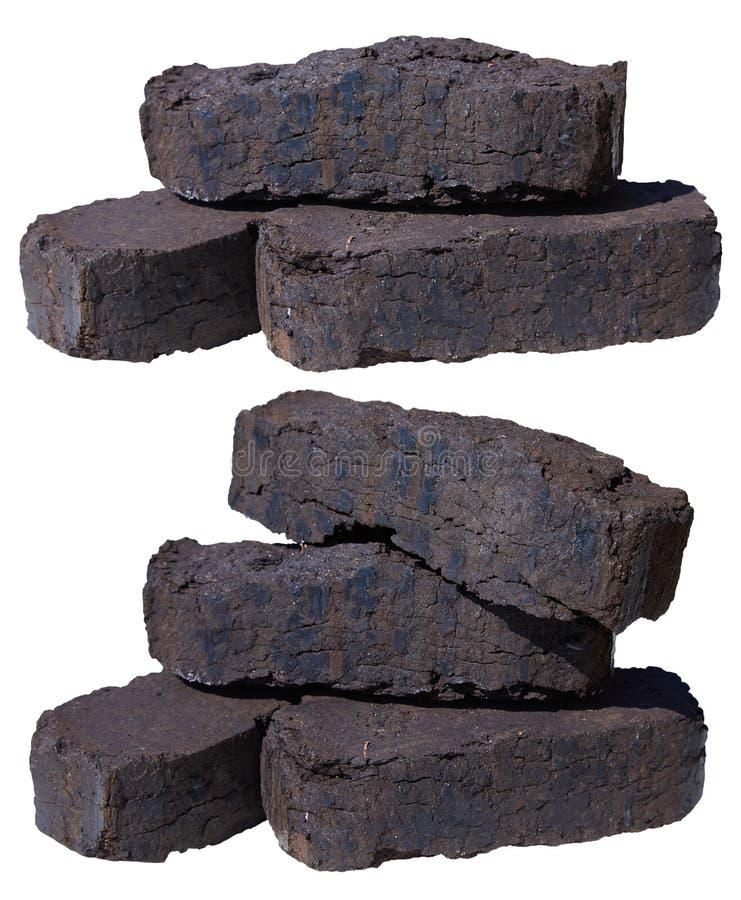 Σωρός των ανθρακόπλινθων τύρφης, εναλλακτικά καύσιμα, πρώτη ύλη στοκ φωτογραφία με δικαίωμα ελεύθερης χρήσης