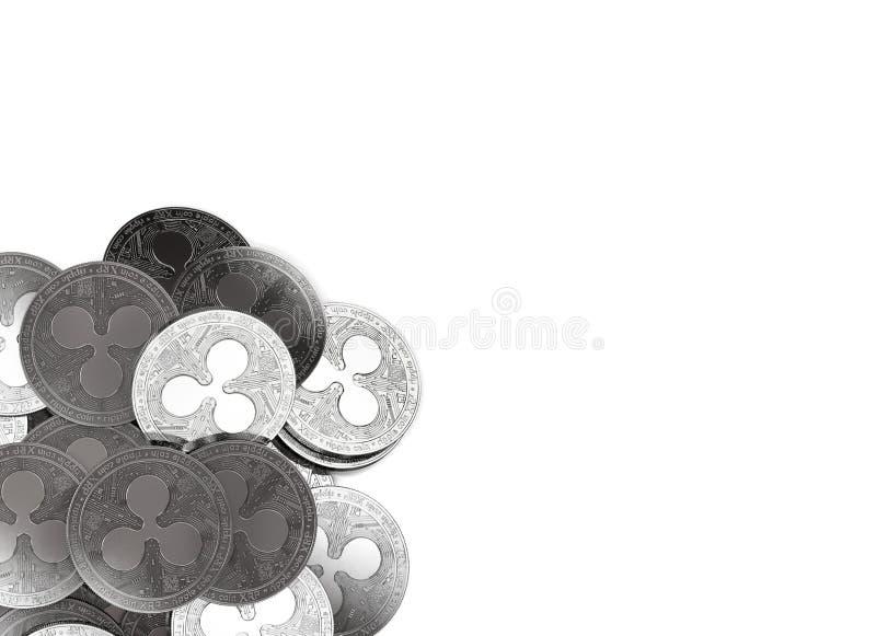 Σωρός των ασημένιων νομισμάτων κυματισμών στην κατώτατος-αριστερή γωνία που απομονώνεται στο διάστημα λευκού και αντιγράφων για τ διανυσματική απεικόνιση