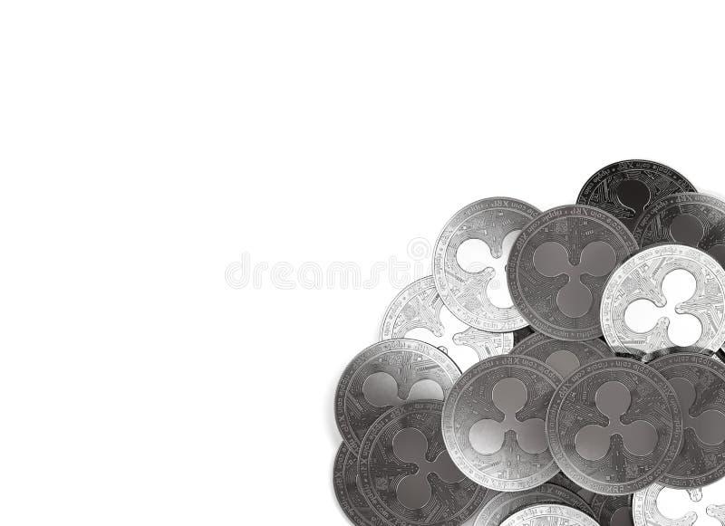 Σωρός των ασημένιων νομισμάτων κυματισμών στην κατώτατος-σωστή γωνία που απομονώνεται ελεύθερη απεικόνιση δικαιώματος