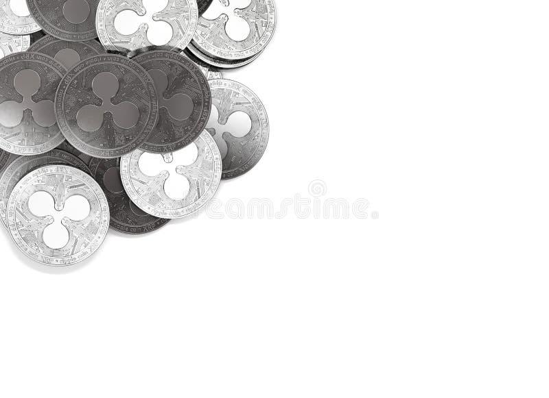 Σωρός των ασημένιων νομισμάτων κυματισμών στην τοπ-αριστερή γωνία που απομονώνεται στο διάστημα λευκού και αντιγράφων για το κείμ διανυσματική απεικόνιση
