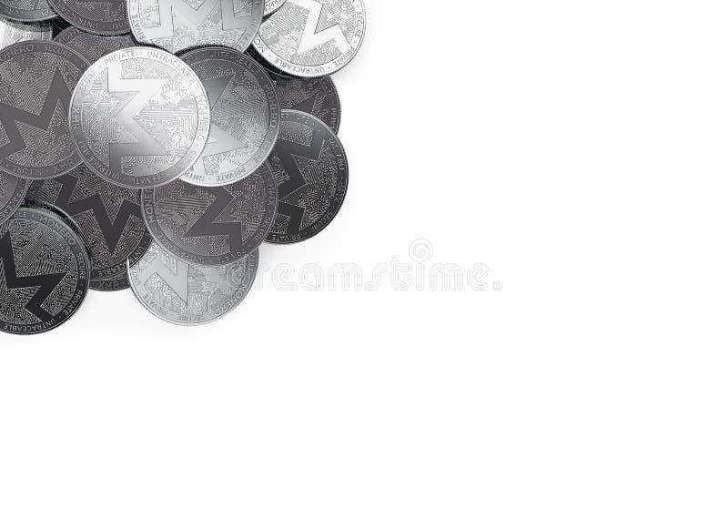 Σωρός των ασημένιων νομισμάτων Monero στην τοπ-αριστερή γωνία που απομονώνεται στο διάστημα λευκού και αντιγράφων για το κείμενό  διανυσματική απεικόνιση