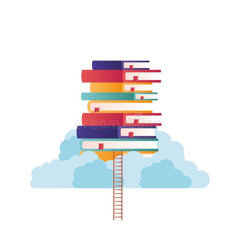 Σωρός των βιβλίων πάνω από απομονωμένο το σύννεφο εικονίδιο διανυσματική απεικόνιση