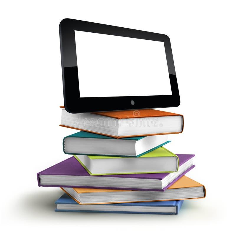 Σωρός των βιβλίων και του lap-top απεικόνιση αποθεμάτων