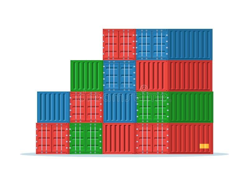 Σωρός των εμπορευματοκιβωτίων φορτίου ελεύθερη απεικόνιση δικαιώματος