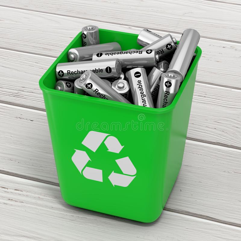 Σωρός των επαναφορτιζόμενων μπαταριών στον πράσινο κάδο με το ανακύκλωσης σημάδι απεικόνιση αποθεμάτων