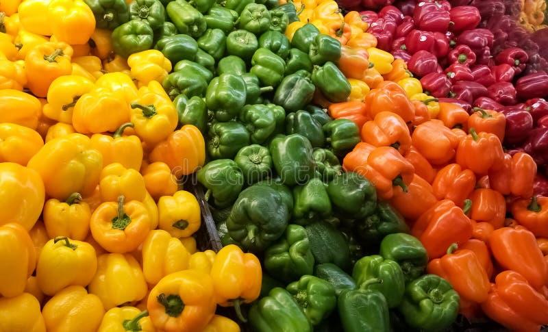 Σωρός των ζωηρόχρωμων πιπεριών κουδουνιών στο ράφι μιας υπεραγοράς ή ενός μανάβικου στοκ φωτογραφίες