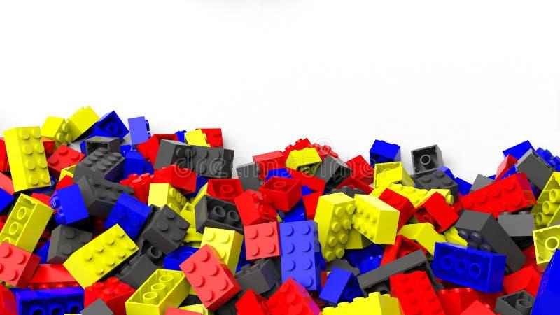 Σωρός των ζωηρόχρωμων φραγμών lego ελεύθερη απεικόνιση δικαιώματος