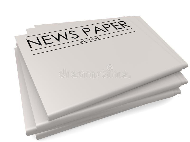Σωρός των κενών εφημερίδων στο άσπρο υπόβαθρο διανυσματική απεικόνιση