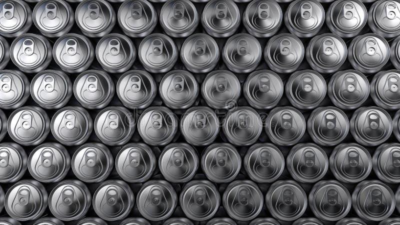 Σωρός των κλειστών δοχείων αλουμινίου Το υπόβαθρο, έμβλημα, αντιγράφει τη διαστημική, τρισδιάστατη απόδοση στοκ εικόνα με δικαίωμα ελεύθερης χρήσης