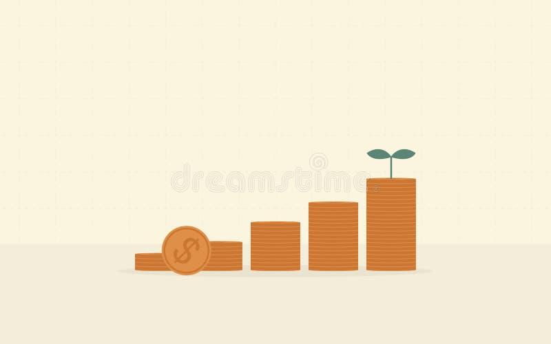 Σωρός των νομισμάτων δολαρίων με την ανάπτυξη των εγκαταστάσεων στο επίπεδο σχέδιο εικονιδίων στο κίτρινο υπόβαθρο χρώματος διανυσματική απεικόνιση