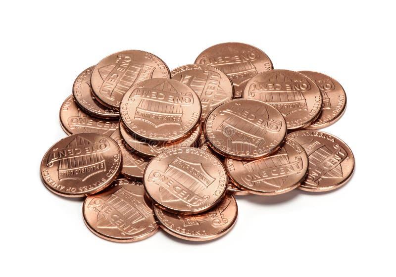 Σωρός των νομισμάτων ενός σεντ που απομονώνονται στοκ εικόνες