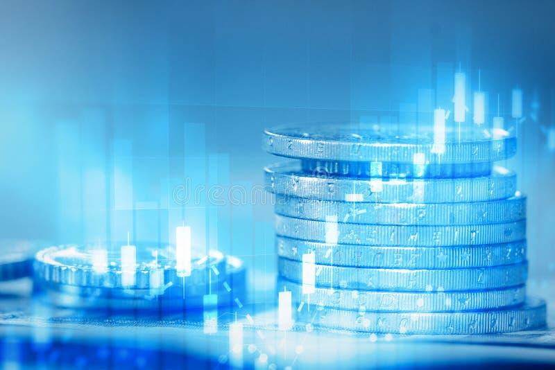 Σωρός των νομισμάτων και του οικονομικού διαγράμματος αγορών μετοχών διανυσματική απεικόνιση