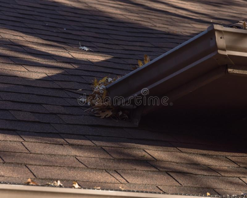 Σωρός των ξηρών φύλλων στην υδρορροή βροχής του κατοικημένου σπιτιού στο Τέξας στοκ εικόνες
