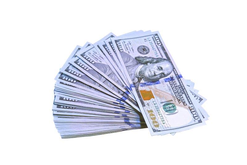 Σωρός των λογαριασμών εκατό δολαρίων που απομονώνονται στοκ εικόνες
