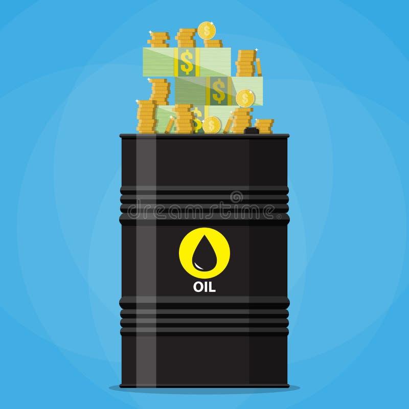 Σωρός των δολαρίων και των νομισμάτων στο βαρέλι πετρελαίου απεικόνιση αποθεμάτων