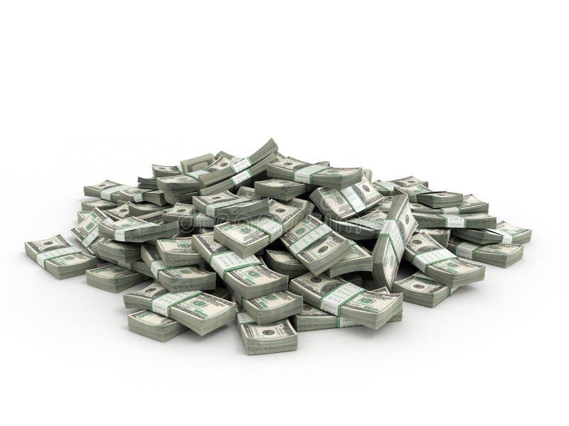 Σωρός των πακέτων των λογαριασμών δολαρίων διανυσματική απεικόνιση