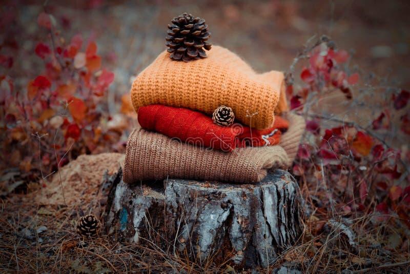 Σωρός των πλεκτών πουλόβερ στοκ εικόνα με δικαίωμα ελεύθερης χρήσης