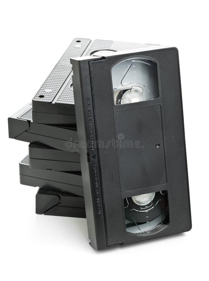 Σωρός των τηλεοπτικών κασετών κινηματογράφων εγχώριων συστημάτων στοκ φωτογραφία