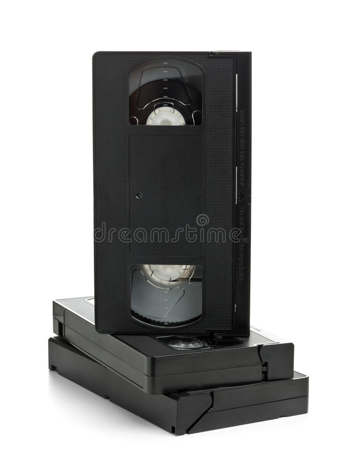 Σωρός των τηλεοπτικών κασετών κινηματογράφων εγχώριων συστημάτων στοκ εικόνα με δικαίωμα ελεύθερης χρήσης