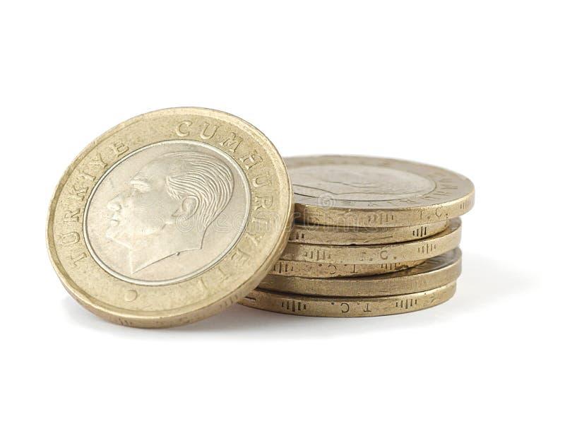 Σωρός των τουρκικών νομισμάτων στοκ εικόνες