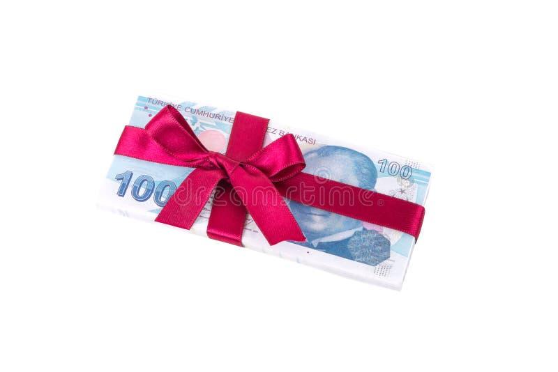 Σωρός των τουρκικών τραπεζογραμματίων λιρετών με την κορδέλλα ως δώρο στοκ εικόνες