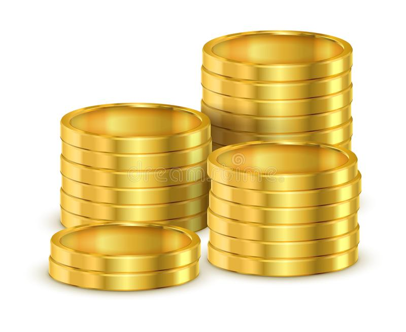 Σωρός των τρισδιάστατων νομισμάτων ή σωρός των ρεαλιστικών χρυσών χρημάτων διανυσματική απεικόνιση