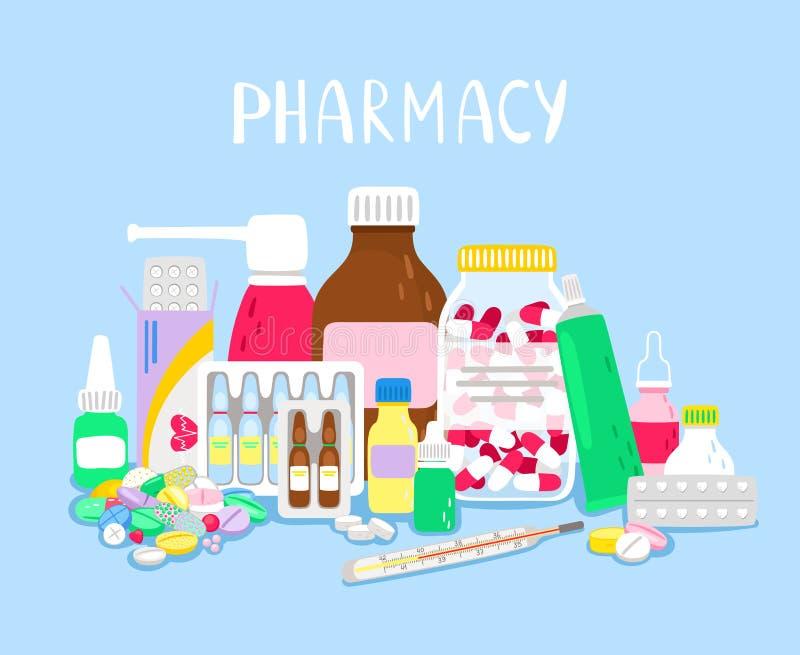 Σωρός των φαρμάκων ελεύθερη απεικόνιση δικαιώματος