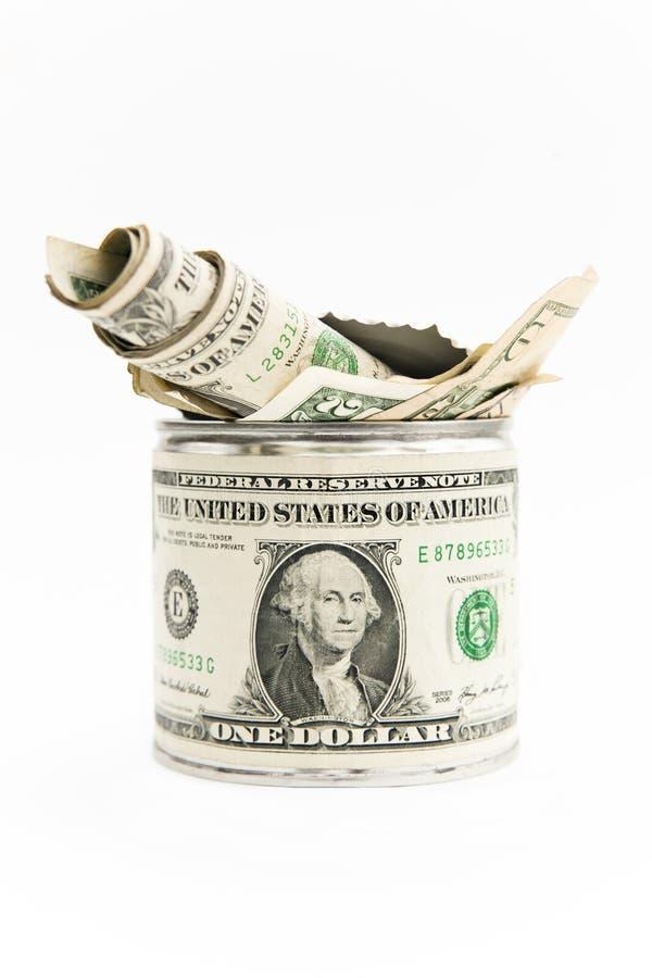 Σωρός των χρημάτων στο κιβώτιο κασσίτερου. στοκ εικόνες