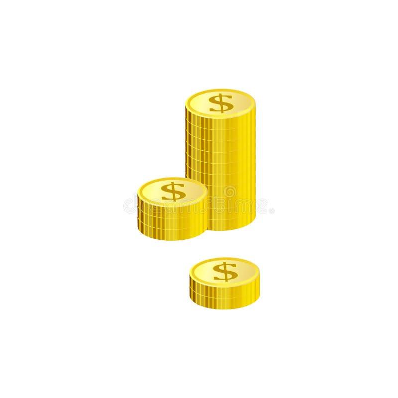 Σωρός των χρυσών νομισμάτων δολαρίων που απομονώνονται στο άσπρο υπόβαθρο διανυσματική απεικόνιση