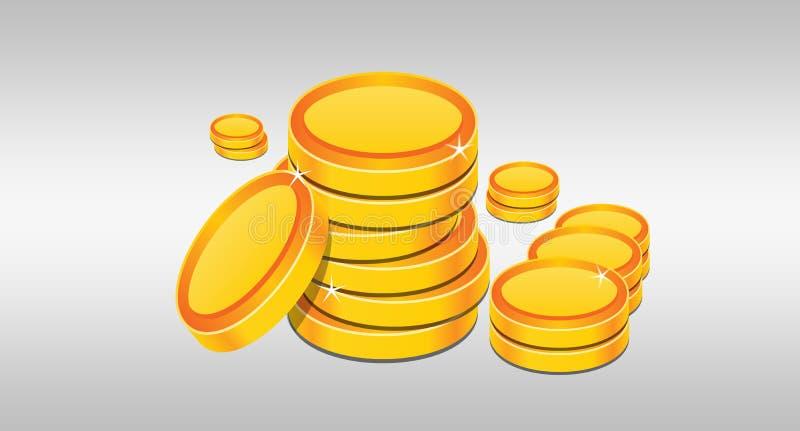 Σωρός των χρυσών νομισμάτων που διευκρινίζονται στο άσπρο υπόβαθρο ελεύθερη απεικόνιση δικαιώματος