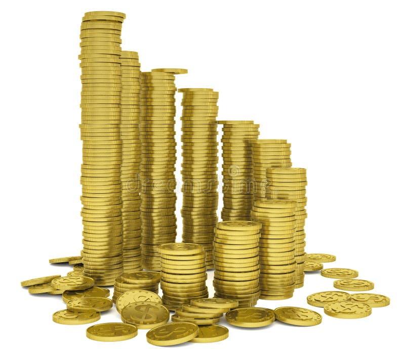 Σωρός των χρυσών νομισμάτων ελεύθερη απεικόνιση δικαιώματος
