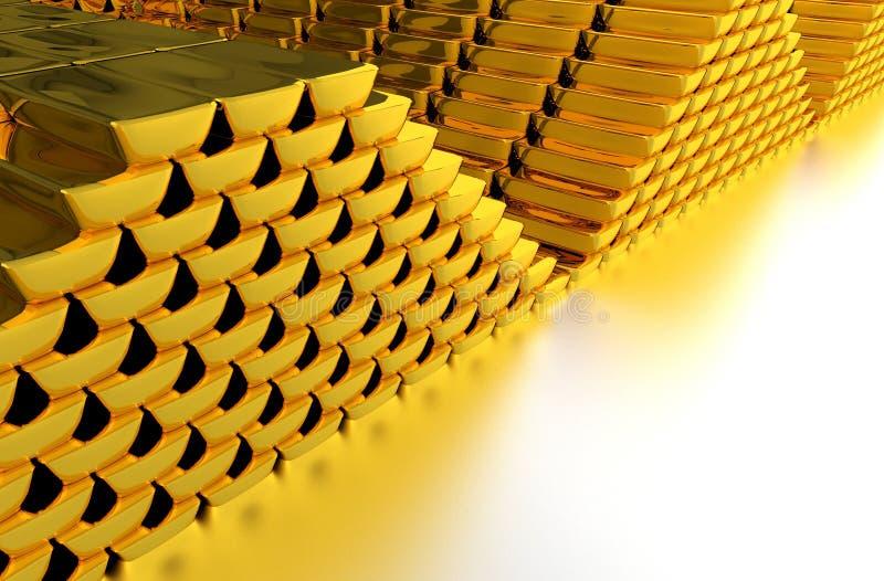 Σωρός των χρυσών ράβδων απεικόνιση αποθεμάτων