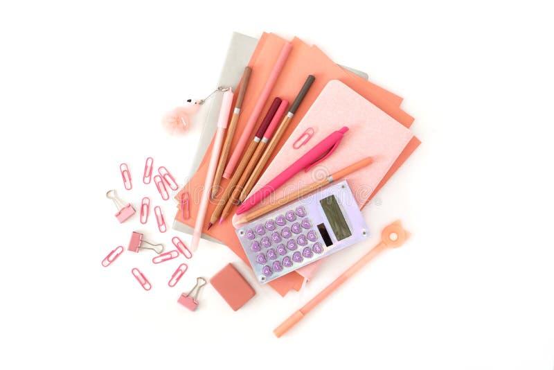 Σωρός χαρτικών o Υπολογιστής συνδετήρων γομών μανδρών μολυβιών σημειωματάριων φύλλων εγγράφου στοκ φωτογραφία με δικαίωμα ελεύθερης χρήσης