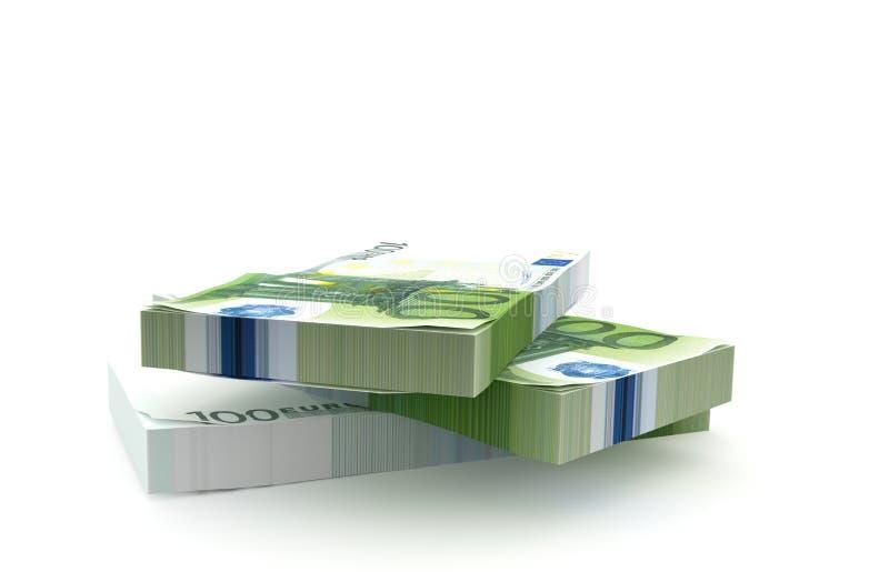 Σωρός χρημάτων 100 ευρώ που απομονώνεται στο άσπρο υπόβαθρο διανυσματική απεικόνιση