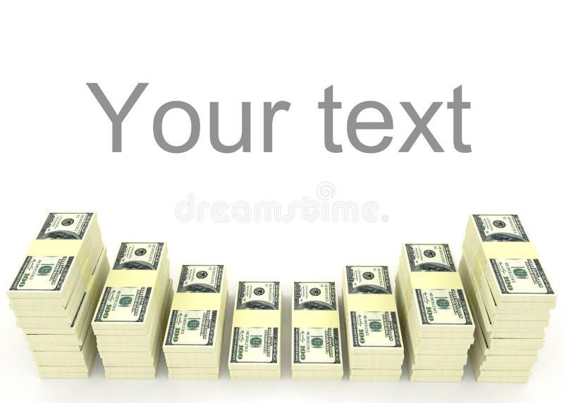 Σωρός χρημάτων με το κενό διάστημα για το κείμενο χρήματα χρηματοδότησης εννοιών υπολογιστών διανυσματική απεικόνιση