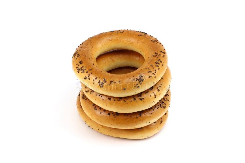 Σωρός bagels παπαρουνών στοκ εικόνες