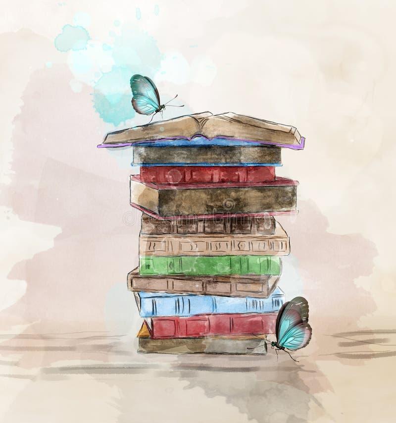Σωρός Watercolor των βιβλίων με τις πεταλούδες απεικόνιση αποθεμάτων