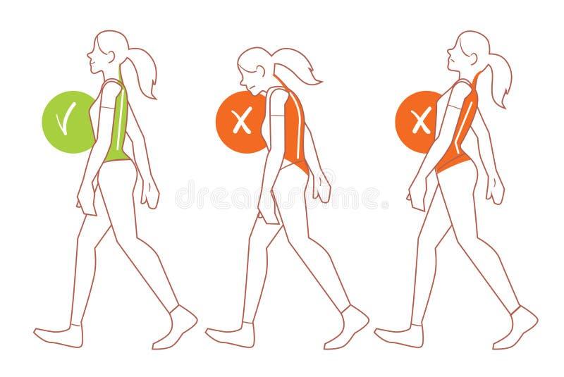 Σωστή στάση σπονδυλικών στηλών, κακή θέση περπατήματος διανυσματική απεικόνιση