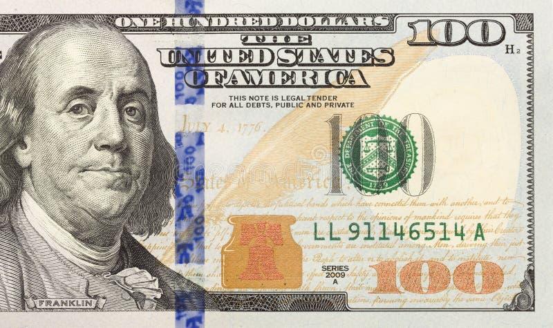 Σωστό μισό του νέου εκατό δολαρίου Μπιλ στοκ φωτογραφία