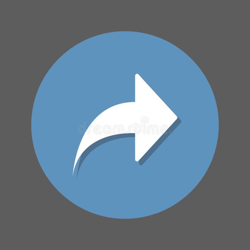 Σωστό, μπροστινό επίπεδο εικονίδιο βελών Στρογγυλό ζωηρόχρωμο κουμπί, κυκλικό διανυσματικό σημάδι με την επίδραση σκιών Επίπεδο σ απεικόνιση αποθεμάτων