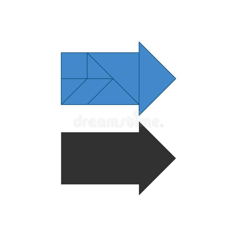 Σωστό τανγκράμ βελών Γρίφος ανατομής παραδοσιακού κινέζικου, επτά κομμάτια επικεράμωσης - γεωμετρικές μορφές: τρίγωνα, τετραγωνικ απεικόνιση αποθεμάτων