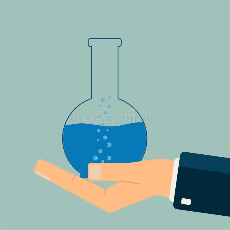 Σωλήνας δοκιμής εκμετάλλευσης χεριών Η βιολογία, επιστήμη, εκπαίδευση, ιατρική ομο ελεύθερη απεικόνιση δικαιώματος