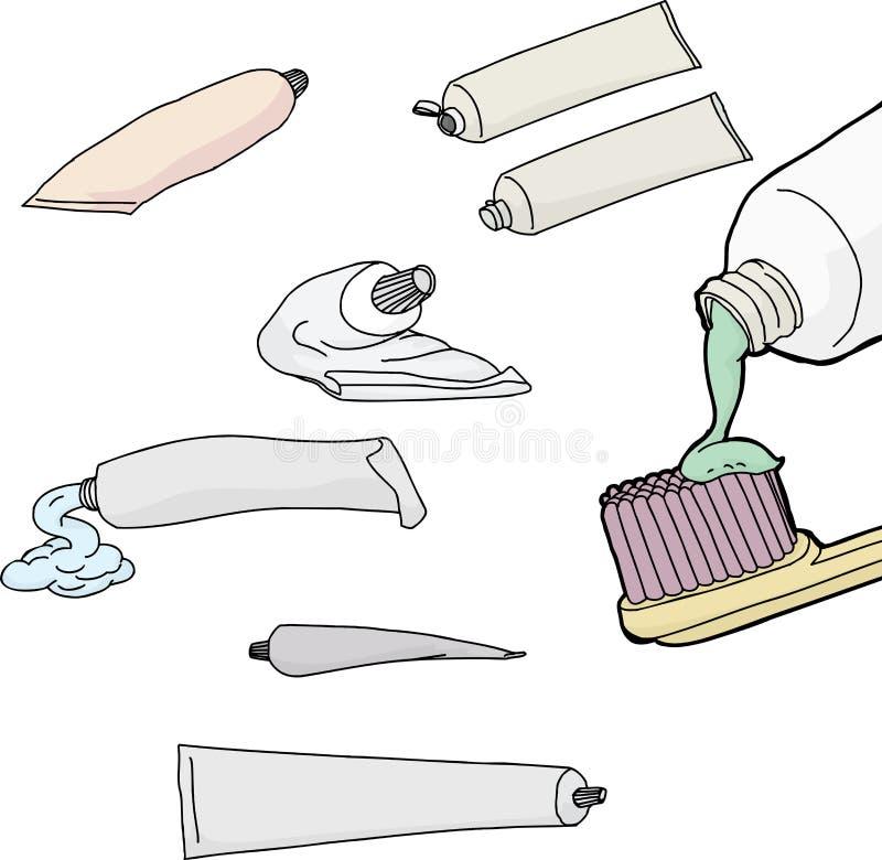 Σωλήνες οδοντόπαστας πέρα από το λευκό ελεύθερη απεικόνιση δικαιώματος