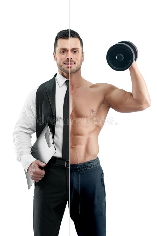 Σύγκριση του διευθυντή και bodybuilder της προοπτικής ` s στοκ εικόνα με δικαίωμα ελεύθερης χρήσης