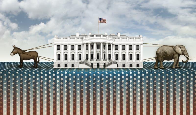 Σύγκρουση γαιδάρων και ελεφάντων για το Λευκό Οίκο διανυσματική απεικόνιση