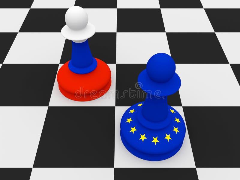 Σύγκρουση μεταξύ της Ρωσίας και της ΕΕ: Ενέχυρα σκακιού σημαιών των ρωσικών και της ΕΕ, απεικόνιση διανυσματική απεικόνιση