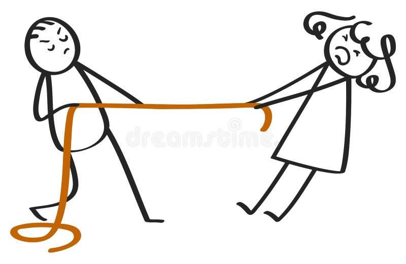 Σύγκρουση μεταξύ των αριθμών ραβδιών, του άνδρα και της γυναίκας απεικόνιση αποθεμάτων