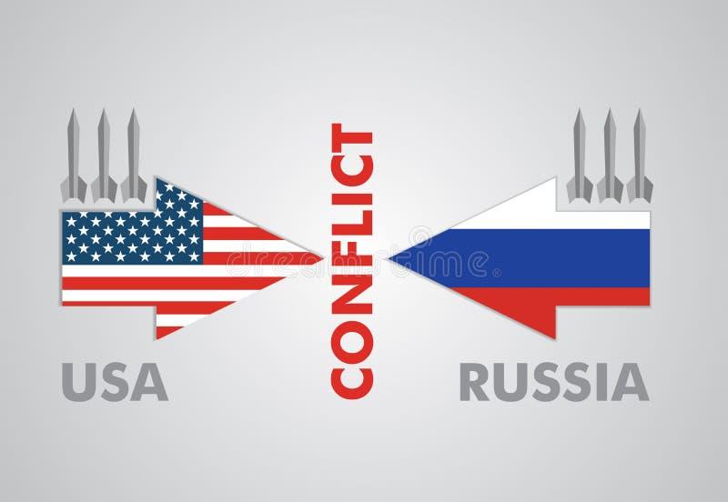 Σύγκρουση μεταξύ των ΗΠΑ και της Ρωσίας διανυσματική απεικόνιση