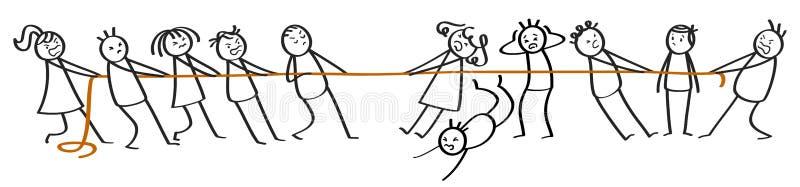 Σύγκρουση μεταξύ των ομάδων αριθμών ραβδιών, των ανδρών και των γυναικών απεικόνιση αποθεμάτων