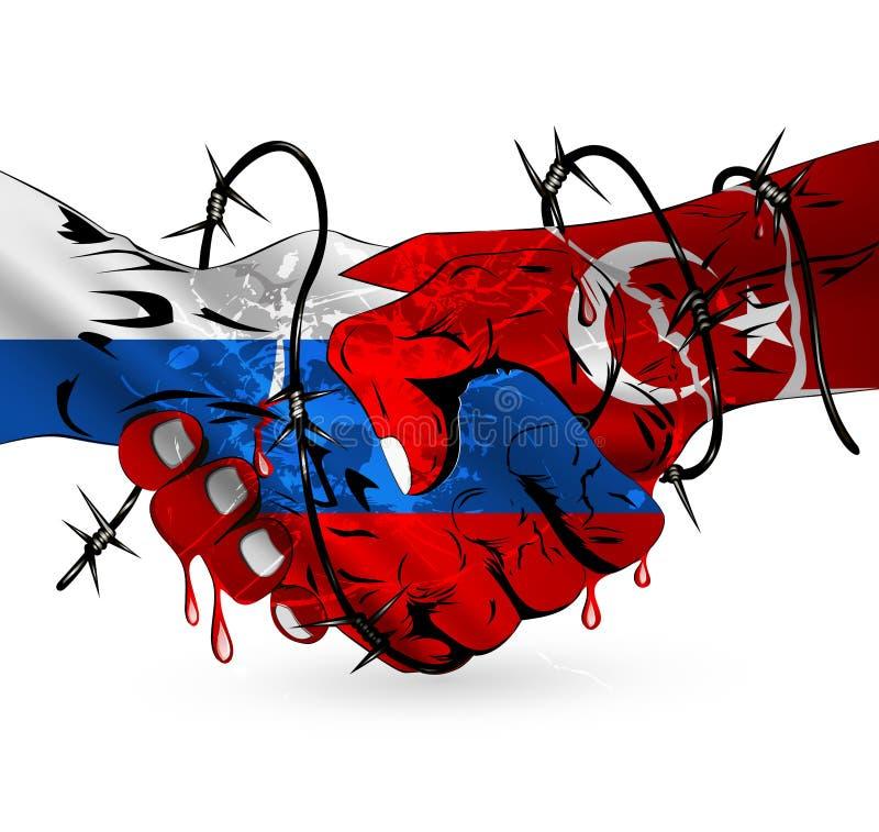Σύγκρουση Ρωσία-Τουρκία διανυσματική απεικόνιση